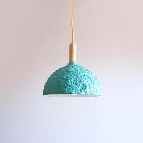 Paper mache lamp Bell blue