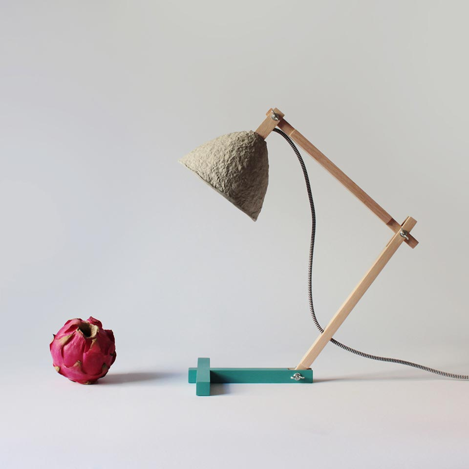 Paper mache table lamp Metamorfozis