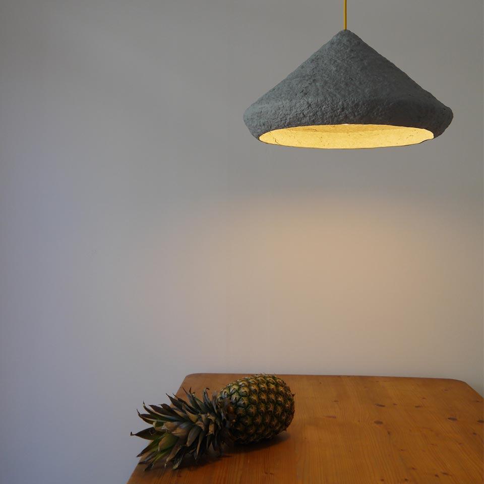Paper pulp lamp Mizuko Grey