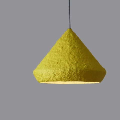 Paper-mache-lamp-Mizuko-yellow-2
