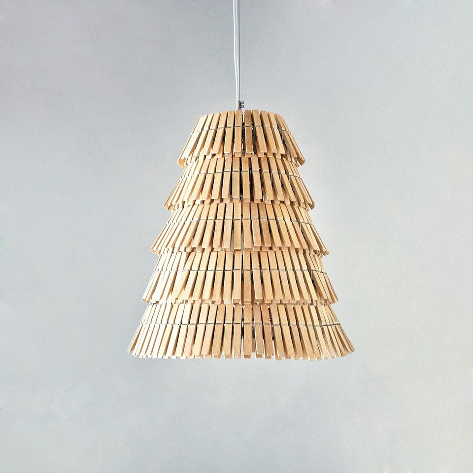 Wooden Clothespins Lamps