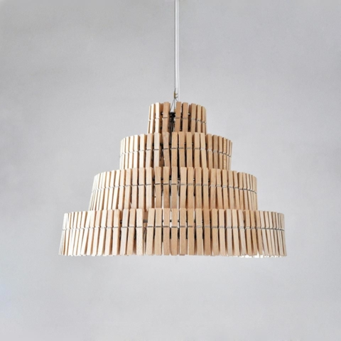 Wooden clothespins lamps 2