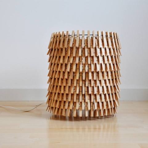 Wooden clothespins lamps 3