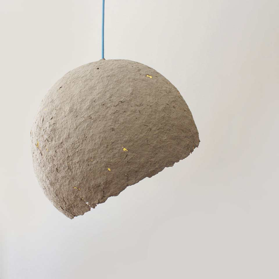 Pulp lamp cypisek crea eco design by crea re for Paper mache pulp