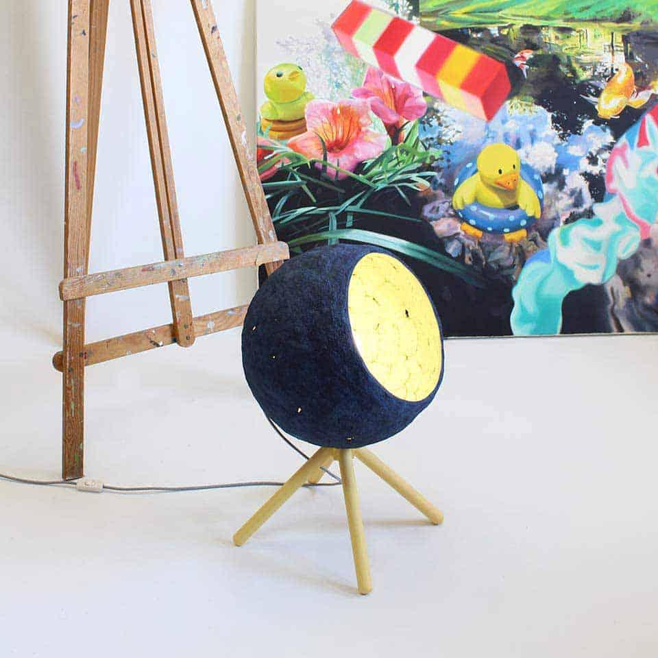 Paper Mache Floor Lamp Pluto